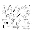 Set of hand drawn sketch arrows vector image