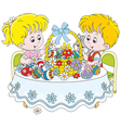 Children with an Easter basket vector image