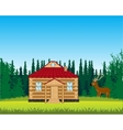 House on glade with flower vector image