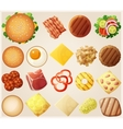 Burgers set Top view Ingredients buns cheese vector image