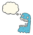 cartoon gross ghost with thought bubble vector image