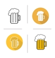 Glass of beer flat design linear and color icons vector image