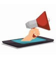 megaphone smartpthone hand social media isolated vector image