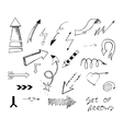 Set of hand drawn sketch arrows vector image