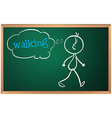 A blackboard with a drawing of a boy walking vector image vector image