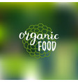 organic food logo on blur background eco vector image