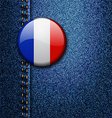 France Bright Colorful Badge on Denim Fabric Textu vector image