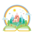 Open Book and Nature Landscape vector image