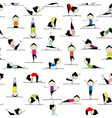 People practicing yoga seamless background for you vector image vector image