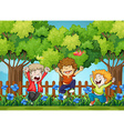 Three boys jumping in the park vector image vector image