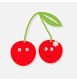 Cute cartoon cherry couple with happy faces Card vector image