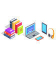 devices laptop and headphones tablet pile of books vector image