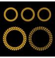 Gold Laurel Wreath Set on Black Background vector image