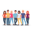 group of happy people in casual clothes on a vector image