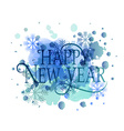 Hand sketched Happy New Year watercolor logotype vector image