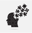 puzzle piece silhouette head - jigsaw vector image