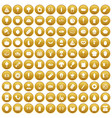 100 favorite food icons set gold vector image