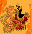 abstract red-yellow music of flamenco vector image vector image