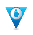 ship icon map pointer blue vector image vector image