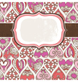 label on background with valentines hearts vector image