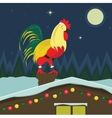 Christmas cock sitting on the roof vector image