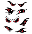 Danger red eyes set vector image