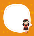 greeting card with cute girl greeting card with vector image