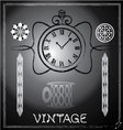hand drawn vintage watch and floral vector image
