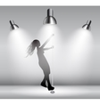 Silhouette of Dancing Striptease Girl on Pole vector image