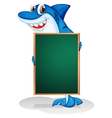 A shark holding an empty board vector image vector image