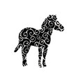 zebra mammal color silhouette animal vector image