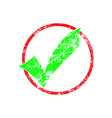 green check in red cycle grunge rubber stamp vector image