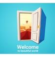 Beautiful world door vector image