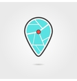 black and turquoise pin icon with shadow vector image