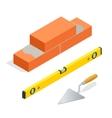 Bricks and masonry tools Flat 3d isometric vector image
