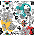 endless pattern with doodle birds and abstract vector image