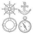 nautical hand drawn symbols anchor lifebuoy vector image