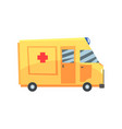 yellow ambulance car emergency medical service vector image