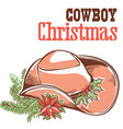Cowboy christmas card with text isolated on white vector image vector image