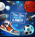 colorful poster with sport inventory vector image