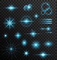 Realistic set lens flares star lights and glow vector image