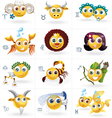 Zodiac Signs - Icons-Smiley Figures - Set vector image vector image