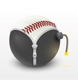 baseball leather ball inside a burning bomb vector image