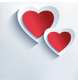 Romantic background with red grey paper 3d hearts vector image