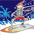 skeleton surfer on summer sea background vector image