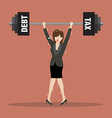 Business woman lifting a heavy weight of debt and vector image vector image