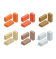 Bricks isolated on white Brick icon set Flat 3d vector image vector image