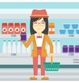 Customer with shopping basket and tube of cream vector image