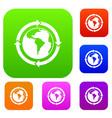 round arrows around world planet set color vector image