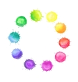 Round frame made of watercolor rainbow blobs vector image